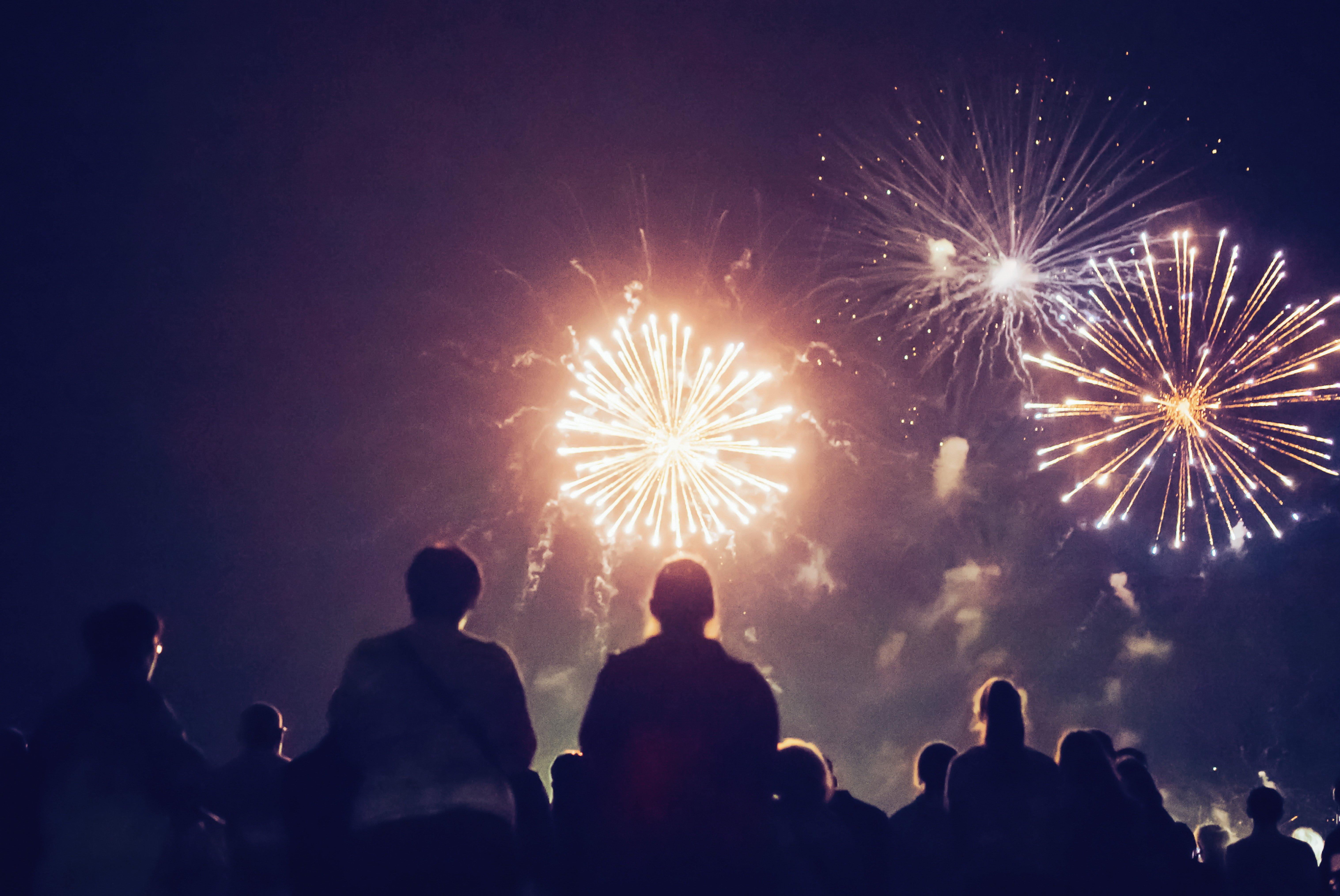 spectators viewing fireworks