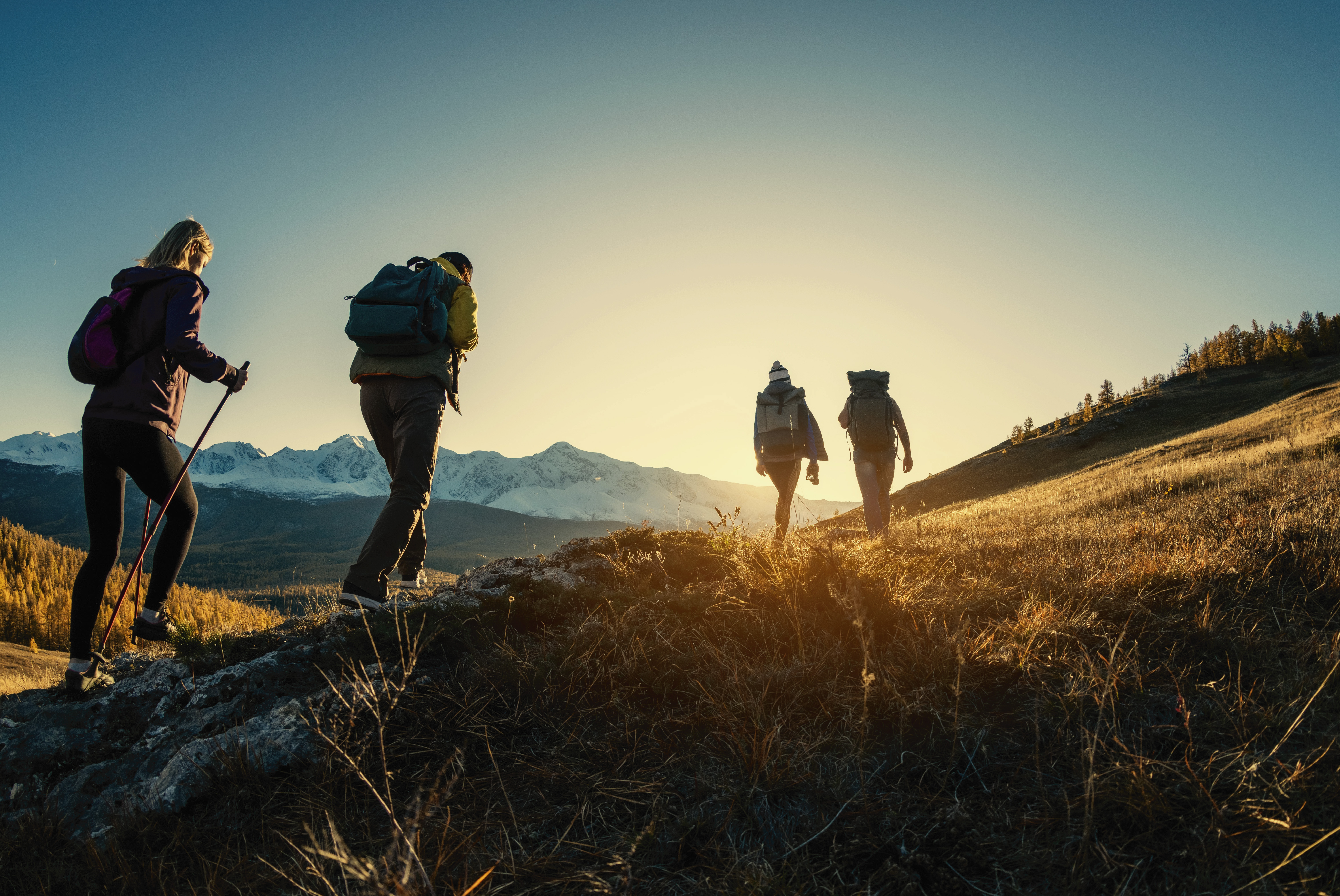 a group of people hiking in the mountains of montana