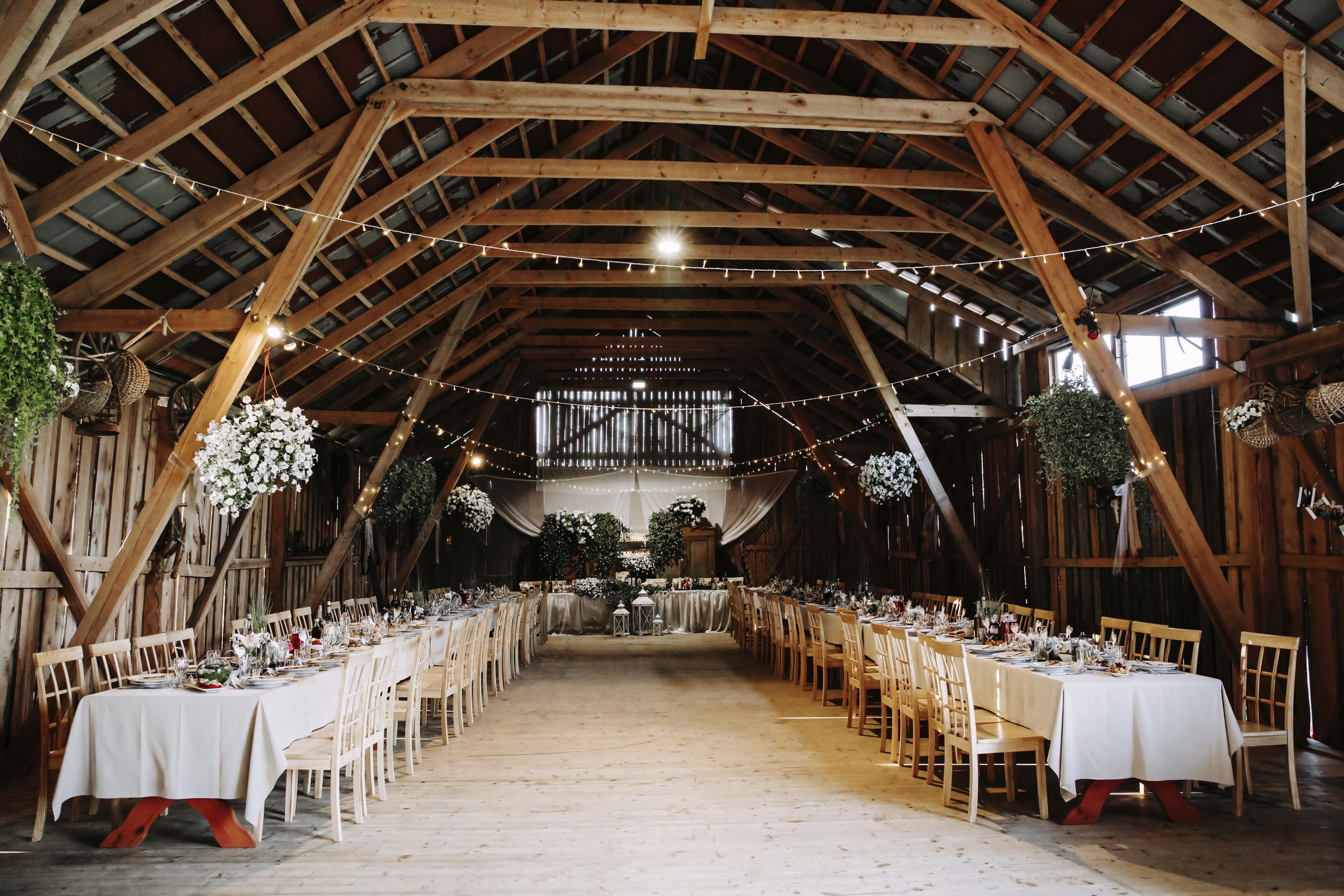 barn wedding set up and decorated
