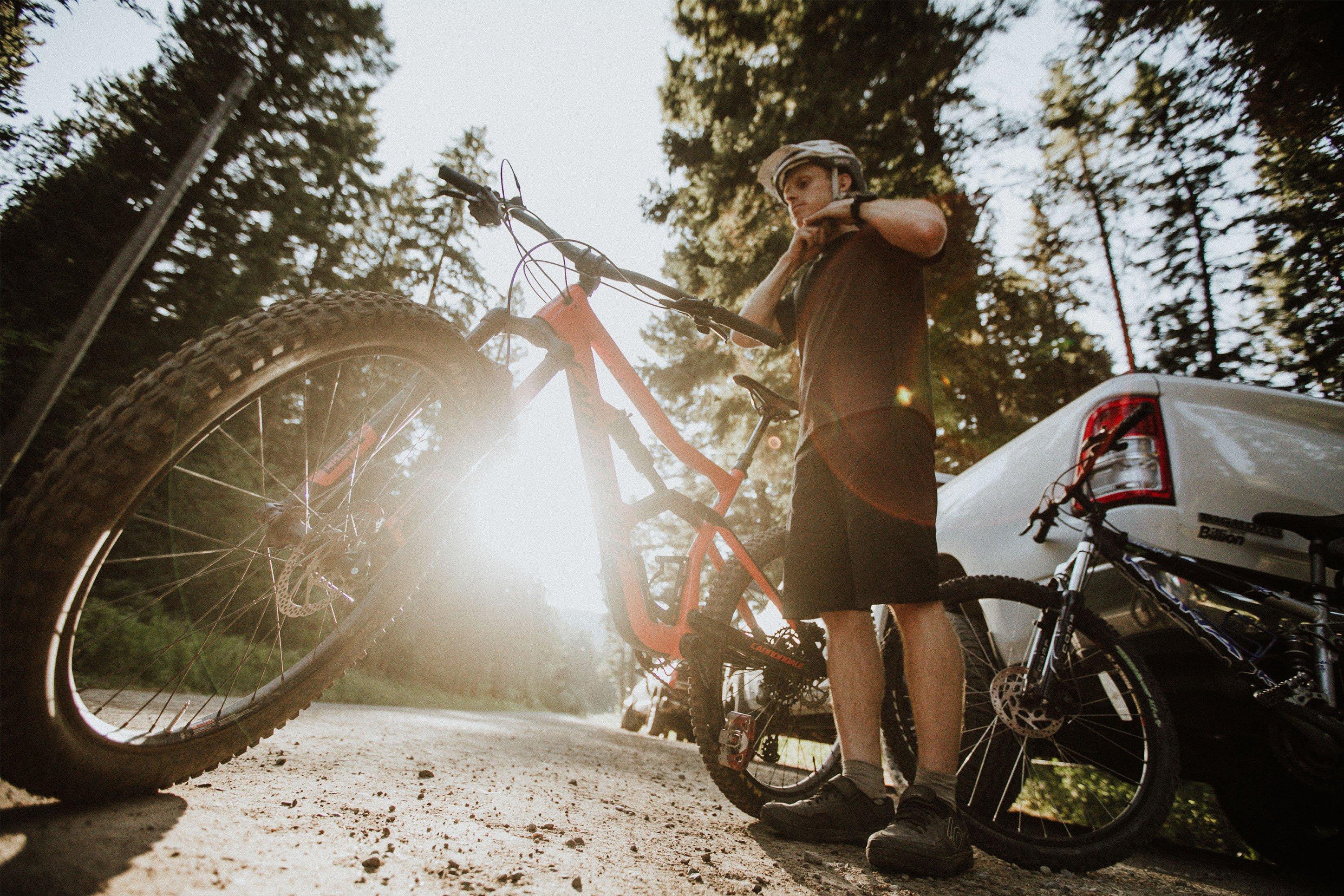 mountain biker preparing to go for a ride