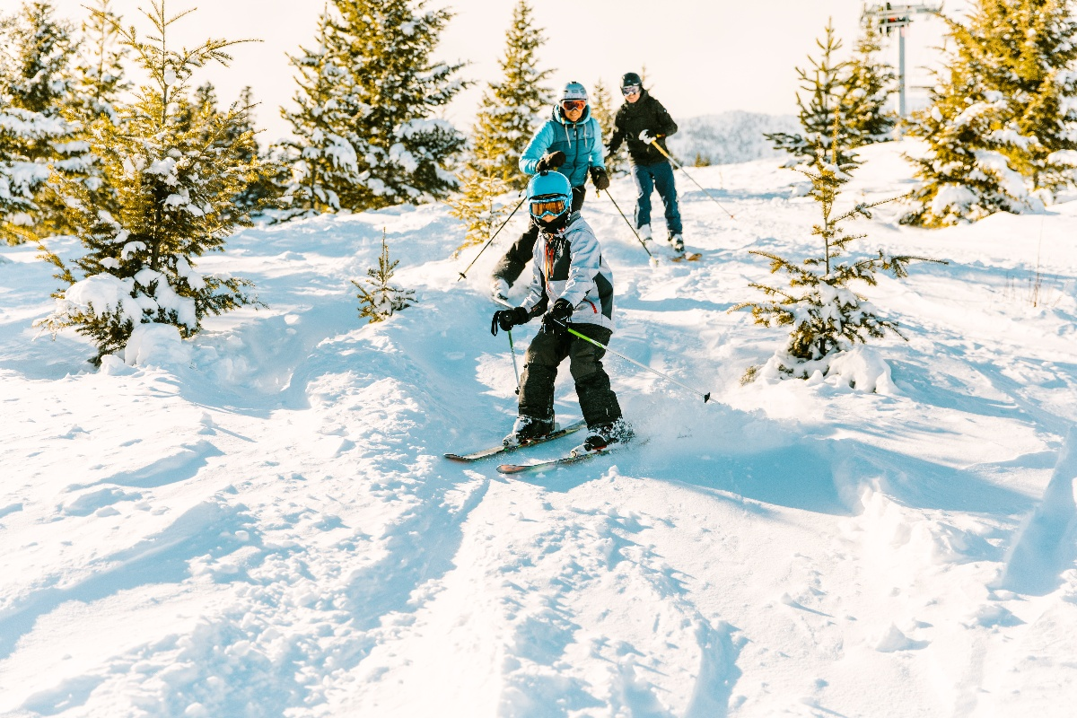 Kids skiing in Bozeman