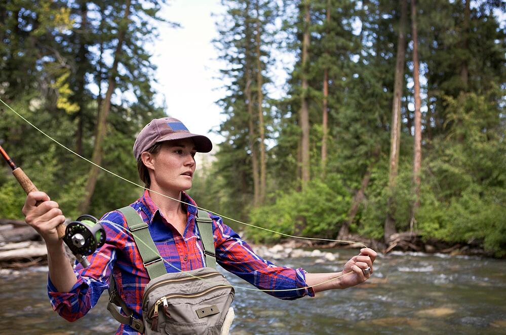 Girls fly fishing in Montana