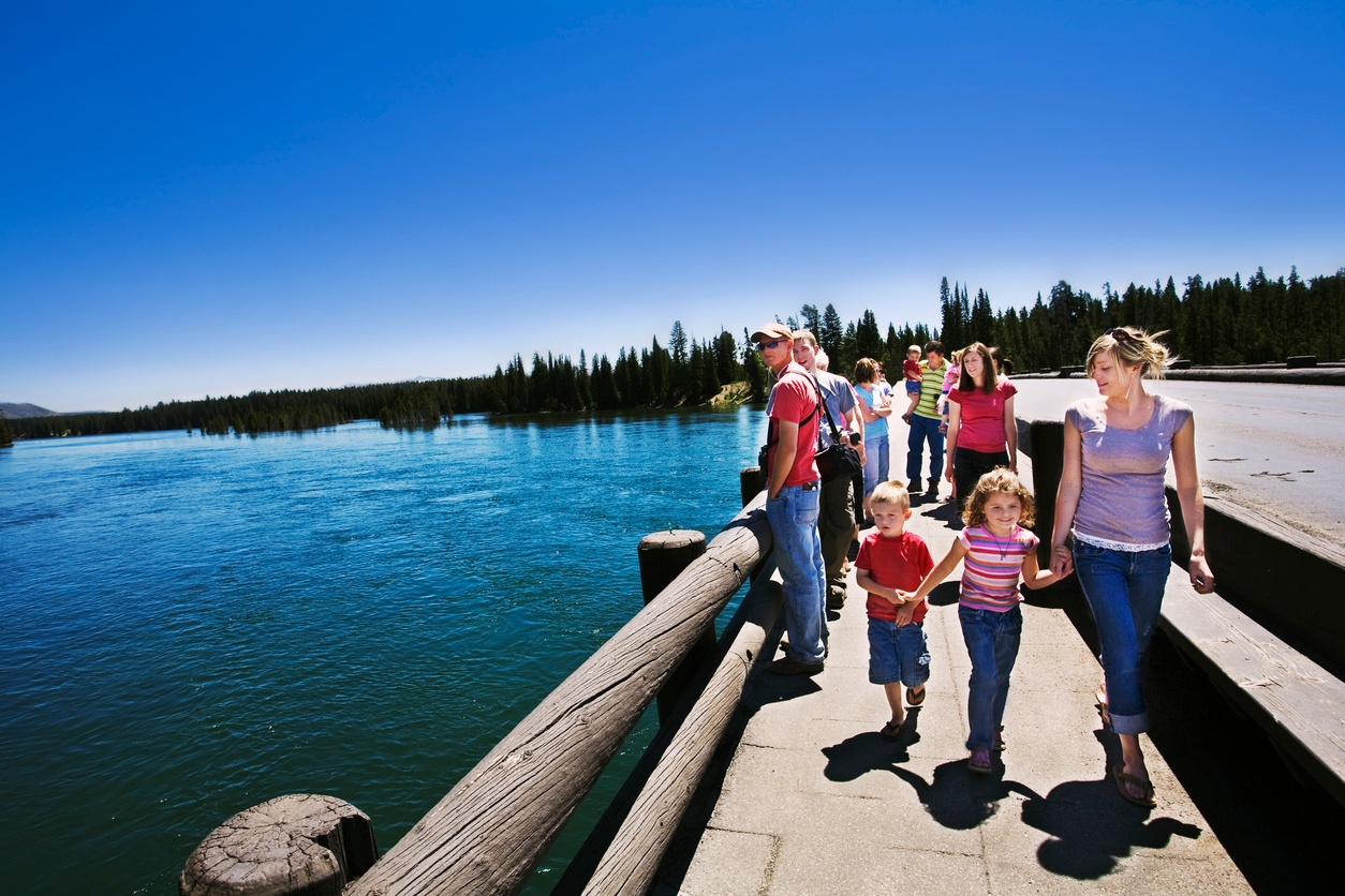 Family at Fishing Bridge in Yellowstone