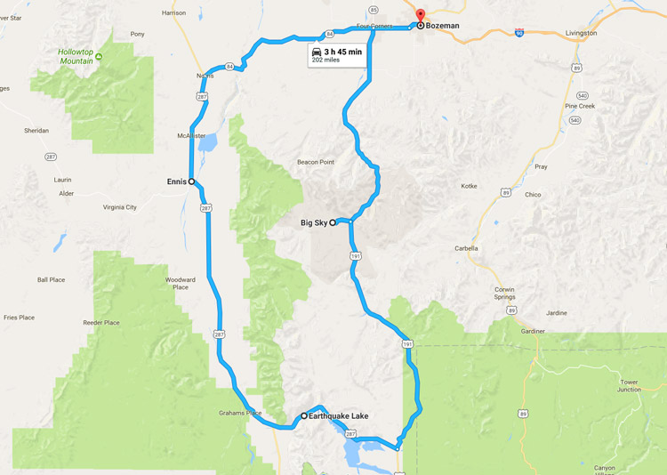 Scenic drive through the Gallatin Canyon and the Madison Valley