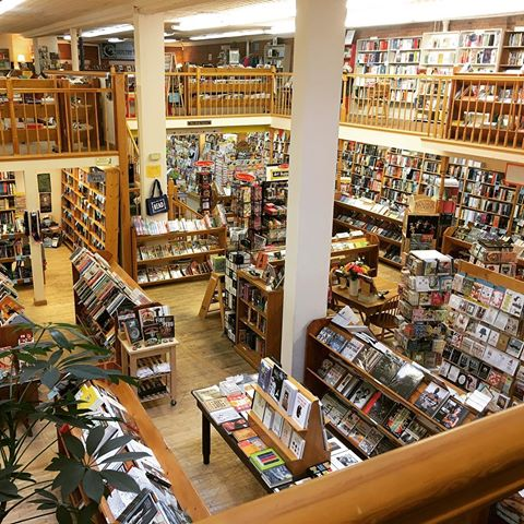 The balcony view at the Country Bookshelf in Bozeman