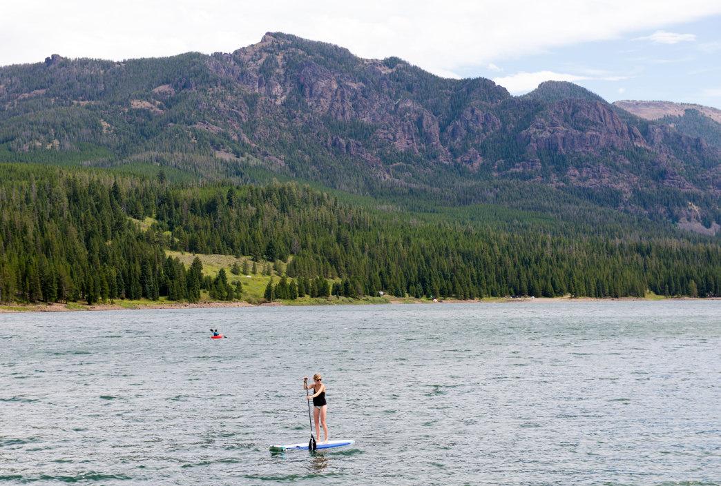 paddleboarding on hyalite reservoir