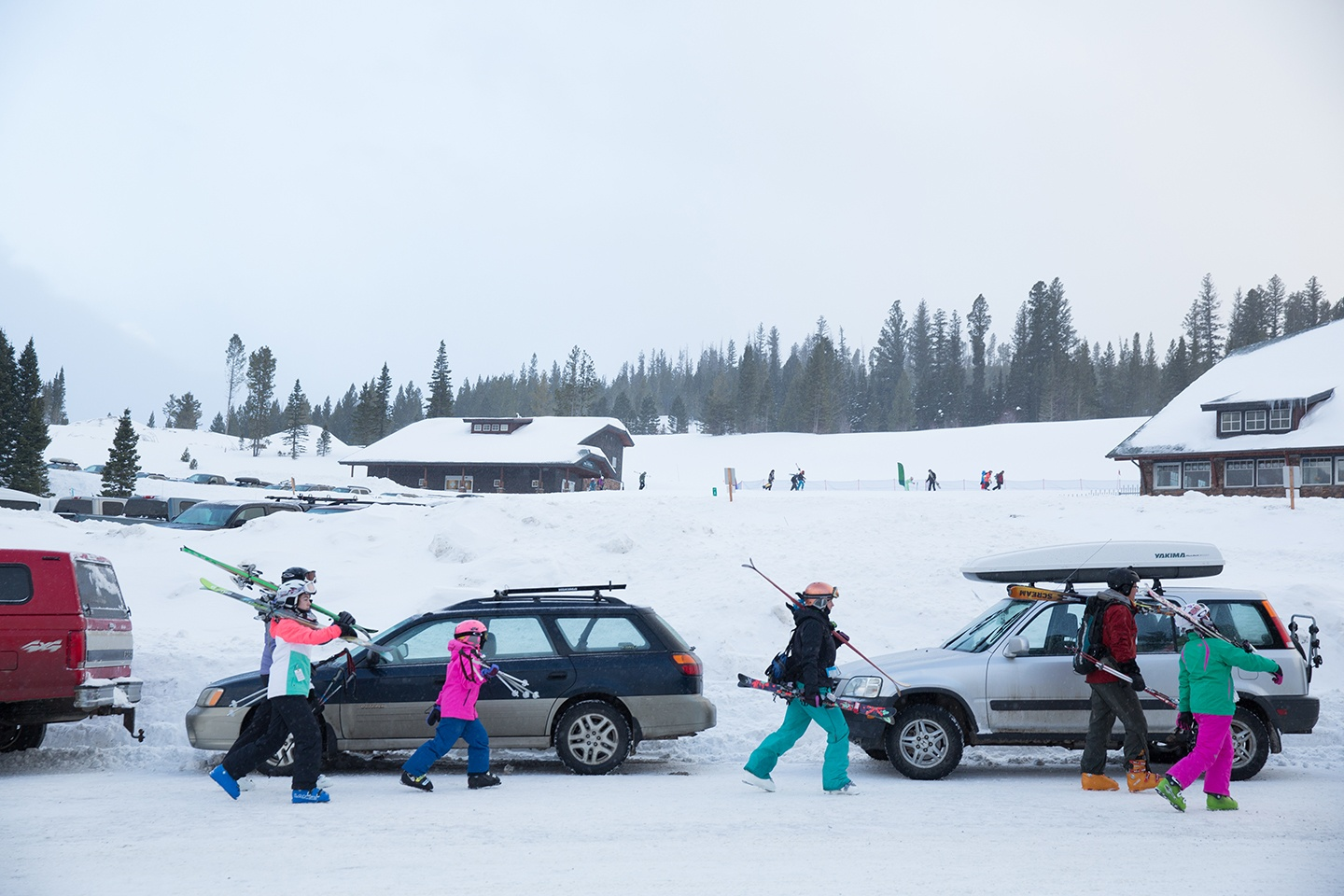 Family Heads Out for a Day of Skiing at Bridger Bowl in Bozeman Montana