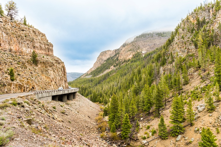 Yellowstone mountain road