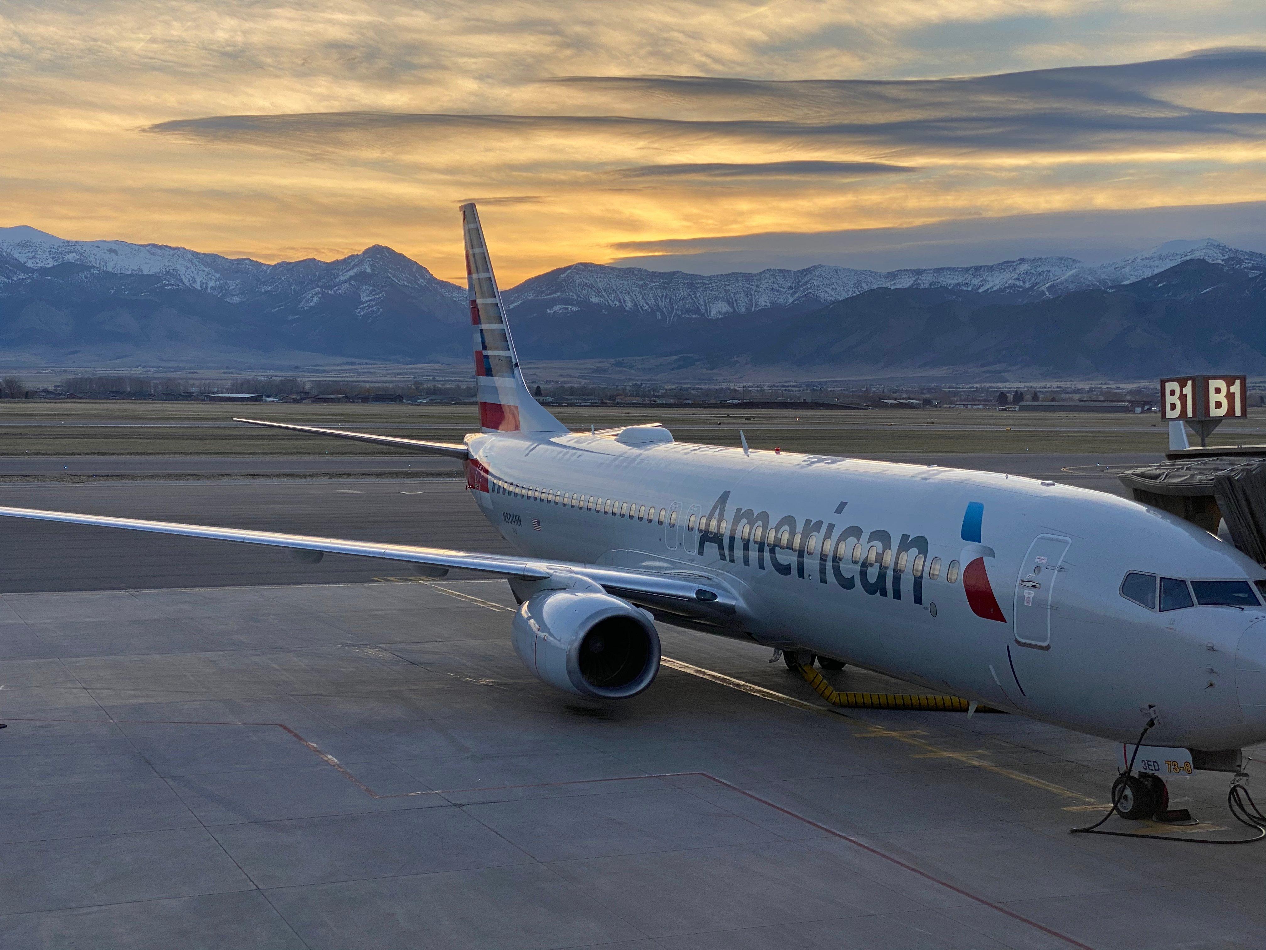 airplane outside of the Bozeman Yellowstone International Airport