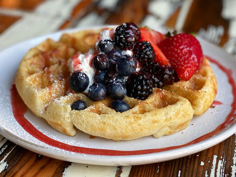 Cake batter fruit waffle from Revelry